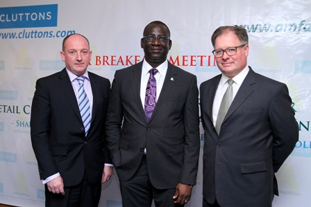 (L-R ) Mr. Kenny McCrae, Director Facility Manageement Division; Engr. Femi Akintunde, Managing Director, Alpha Mead Facilities & Management Services Ltd and MR. IAN Gladwin, Head of International, Cluttons LLP.