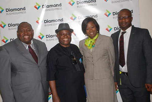 L-R: John Ekpikhe, Consultant, Mark George Consulting; Chief Steve Amadi, Key note speaker and MD/CEO, Crisp International Limited; Adaeze Ume, Segment Head, Micro Enterprise and Business Development Services, Diamond Bank PLC; and Charles Oguibe, Manager, WAAST Avenue Branch, Owerri, Diamond Bank PLC at the 40th Diamond BusinessXpress Seminar organized by the Bank at Rockview Hotel, Owerri, Imo State, recently.