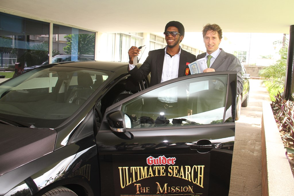 Otto Canon (left), 4th placed contestant and winner, Gulder Ultimate   Search 11 Viewers' Choice receiving the keys to the brand new car   which he won, from Walter Drenth (right), Marketing Director, Nigerian   Breweries Plc., at the official prize presentation of cars to winners   of the reality TV programme, held at the Nigerian Breweries Plc.   headquarters, Iganmu, Lagos on Wednesday, November 12.
