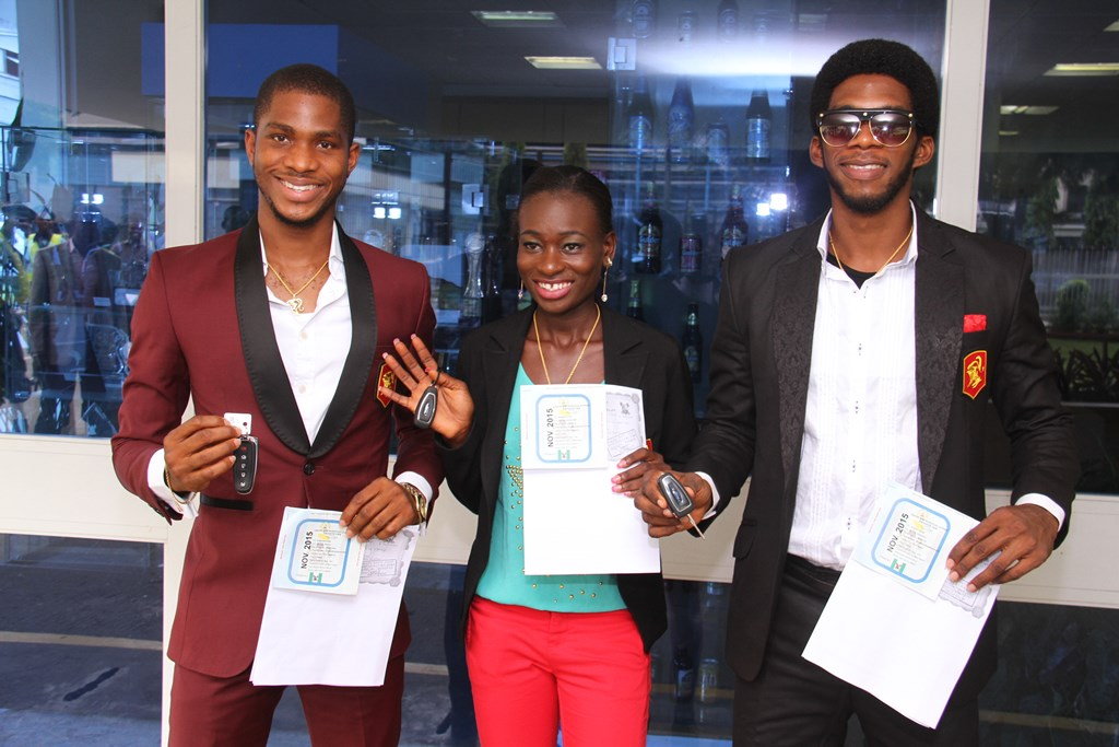 L – R: Chinedu Ubachukwu, winner, Samantha Appi, Last Woman Standing and Otto Canon, Viewers' Choice, winner, Gulder Ultimate Search 11 Viewers' Choice, all of Gulder Ultimate Search 11, at the official prize presentation ceremony to winners of automobiles, held at the Nigerian Breweries Plc. headquarters, Iganmu, Lagos on Wednesday, November 12.