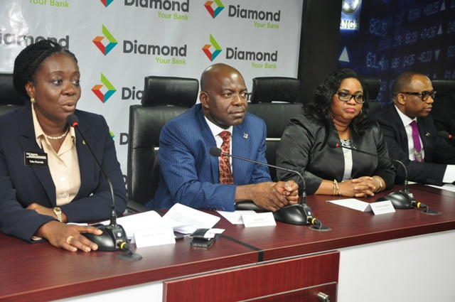 (L-R) Mrs Peterside Taba, General Manager, Sales, Listing & Retention; Dr Alex Otti, Group Managing Director, Diamond Bank Plc; Mrs Caroline Anyanwu, Deputy Managing Director/Chief Risk Officer, Diamond Bank Plc and Mr Oladele Akinyemi, Executive Director, Northern Businesses, Diamond Bank Plc at the Facts behind the Figures of the Right Issues of Diamond Bank Plc at the Nigerian Stock Exchange, Lagos recently